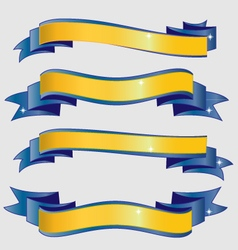 Blue and gold ribbons vector