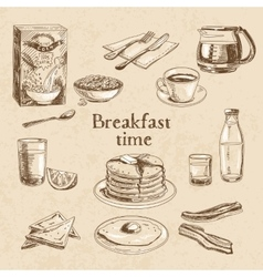 breakfast hand drawn set vector image
