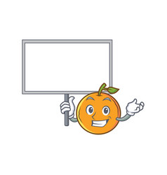 Bring board orange fruit cartoon character vector