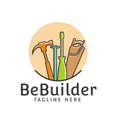 Builder equipment hammer saw toll repair logo vector