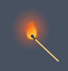 Burning match on black background vector