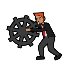 businessman holding gear icon image vector image