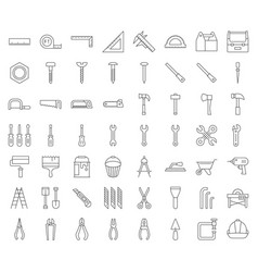 Carpenter handyman tool and equipment icon set vector