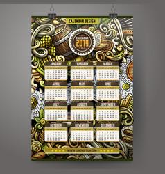 Cartoon doodles beer fest 2019 year calendar vector