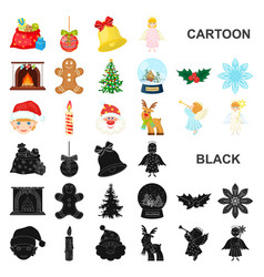 Christmas attributes and accessories cartoon icons vector