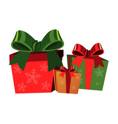 christmas gift boxes on white background vector image