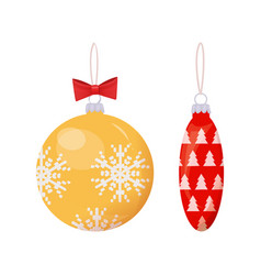 christmas gold and red balls with print vector image