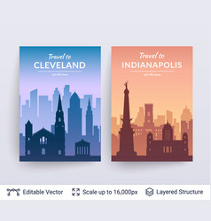 Cleveland and indianapolis famous city scapes vector