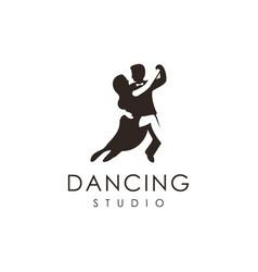 Couple dancing studio logo icon template vector