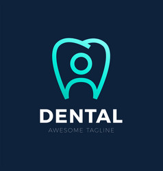 creative human and teeth logo template for family vector image