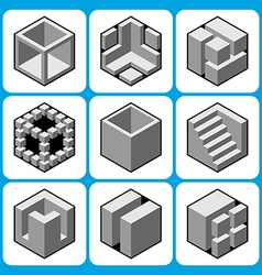 Cube icon set 2 vector