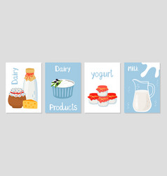 dairy products cards template vector image
