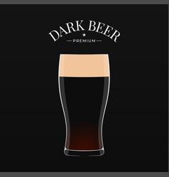 Dark beer logo glass beer on black background vector