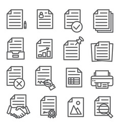 documents line icons set on white background vector image