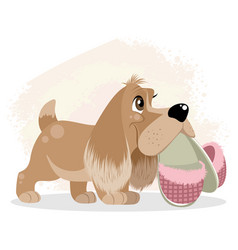 Dog with slippers in teeth vector