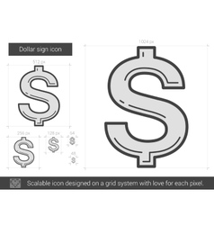Dollar sign line icon vector