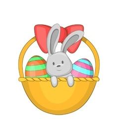 Easter bunny basket icon cartoon style vector image