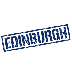 Edinburgh blue square stamp vector