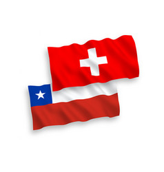 Flags chile and switzerland on a white vector