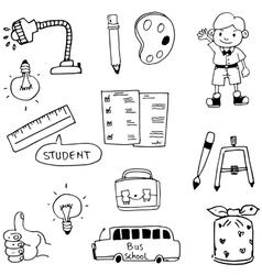 Flat doodle of object school vector image