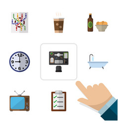 flat icon oneday set of beer with chips router vector image