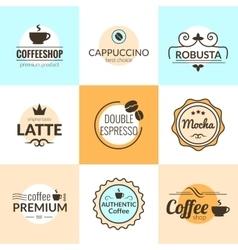 flat line vintage coffee labels logo design vector image