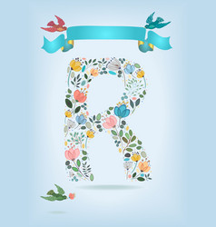 Floral letter r with blue ribbon and three doves vector