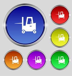 Forklift icon sign Round symbol on bright vector