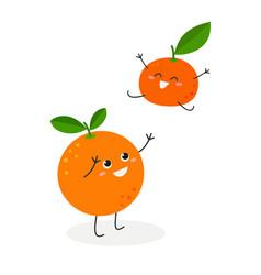 funny cartoon orange and adorable tangerine vector image
