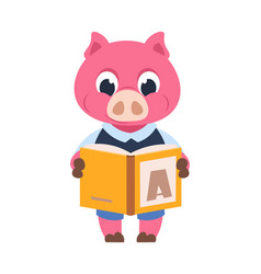 funny pig character cartoon domestic animal vector image