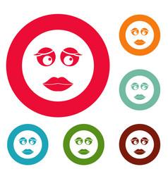girl smile icons circle set vector image
