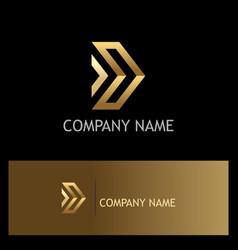 Gold arrow forward company logo vector