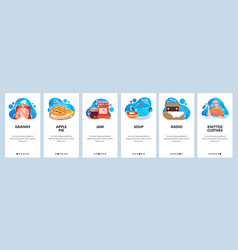 Granny website and mobile app onboarding screens vector