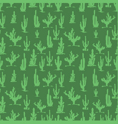 Green cactus silhouettes seamless pattern design vector