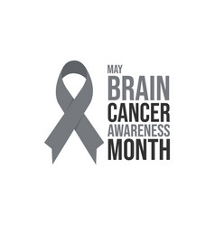 grey ribbon brain cancer awareness month poster vector image