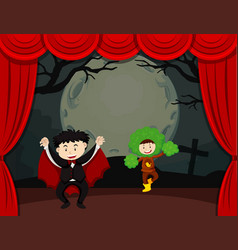 Halloween theme with kids on stage vector