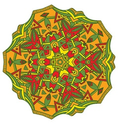 Hand-drawn colored mandala zentangl element vector