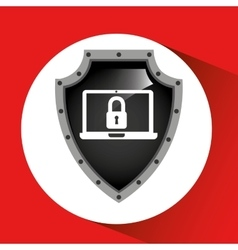 hand holding security shield data laptop vector image