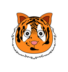head of tigerin cartoon style kawaii animal vector image