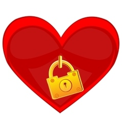 Heart locked on golden lock vector image
