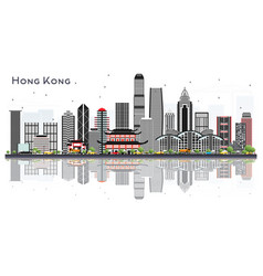 Hong kong china city skyline with gray buildings vector