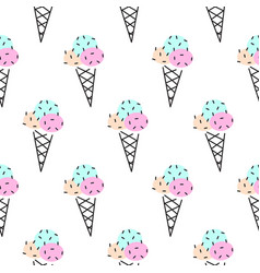 Ice cream cone seamless pattern pop art vector