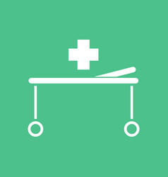 Icon medical stretcher with cross vector