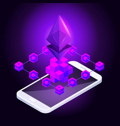 Isometry icon blockchain ethereum crypto currency vector