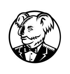 koala bear wearing tuxedo woodcut vector image