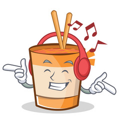 Listening music cup noodles character cartoon vector
