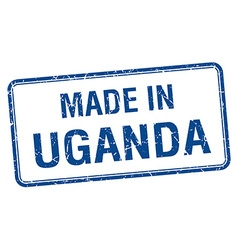 made in Uganda blue square isolated stamp vector image