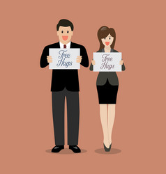 man and woman holding free hugs signs vector image