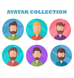 man avatar collection profile picture in flat vector image