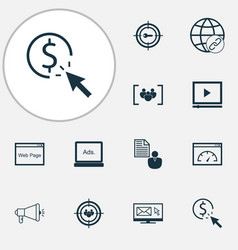 Marketing icons set with keyword marketing vector